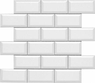 "Hampton Tile Beveled Mesh Mosaic 2"" x 4"" - White"