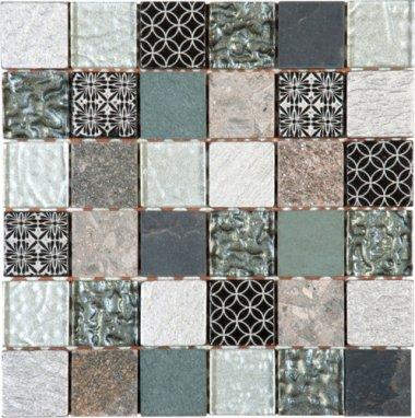 "Glass Tile Decor 2"" x 2"" - Mix Grey/Black"