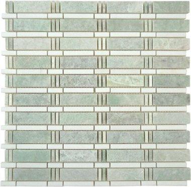 """Skyline Stone Tile 3/4"""" x 2 1/2"""" - Ming Green & Thassos White (dots)"""