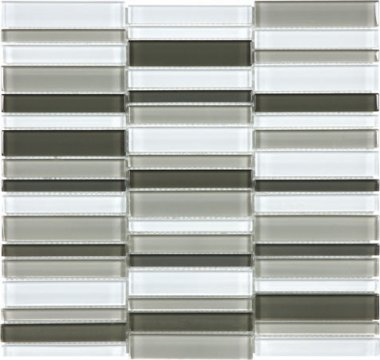 "Bliss Element Glass Tile Straight Stacked Mosaic 1"" x 1"" - Mineral Blend"