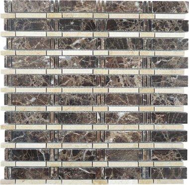 "Skyline Stone Tile 3/4"" x 2 1/2"" - Emperador Dark & Crema Marfil (dots)"