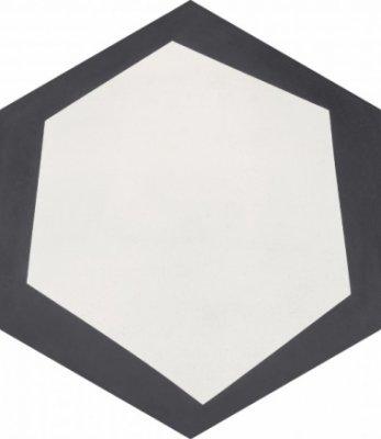 """Bati Orient Cement Tile Hexagon Modern 8"""" x 9"""" - Antracite/Off White"""