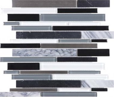 Bliss Stainless Glass Tile Mosaic - Arctic Night