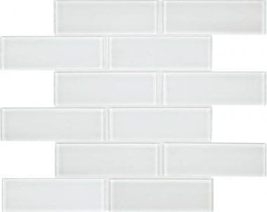 "Bliss Element Glass Tile Brick Mosaic 2"" x 6"" - Ice"