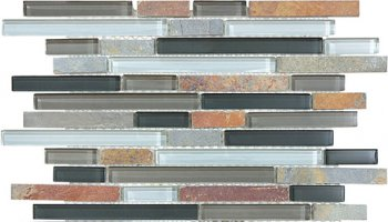 Bliss Glass Tile Blend Linear Mosaic - Smoky Mica