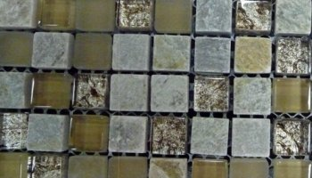 Foil Slate Glass Tile Mosaic 5/8