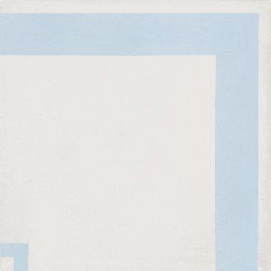 "Bati Orient Cement Tile Decor Modern Line Corner 8"" x 8"" - Blue/Off White"