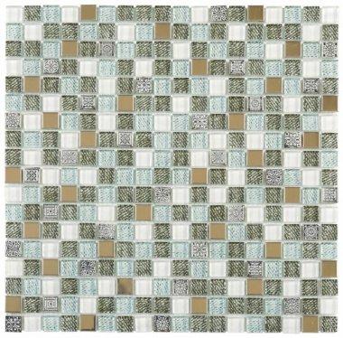 """Glass Tile Decor 5/8"""" x 5/8"""" - Mix Grey /  Green Jean Print"""