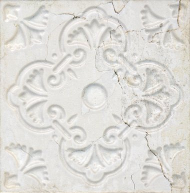 "Aged Tile 8"" x 8"" - White Ornato"