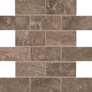 """Laurel Heights Tile Brick Joint Mosaic 2"""" x 4"""" - Brown Pinnacle"""