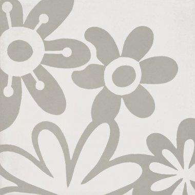 "Bati Orient Cement Tile Decor Modern Flower 8"" x 8"" - Off White/Grey"