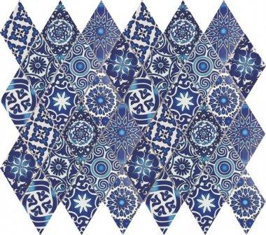 """Bati Orient Cement Tile Patchwork Diamond 11.8"""" x 11.8"""" - Blue"""
