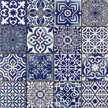"""Bati Orient Cement Tile Patchwork Square 11.8"""" x 11.8"""" - Blue"""