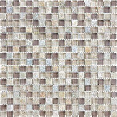"Bliss Glass Tile Blend Mosaic 5/8"" x 5/8"" - Cotton Wood"