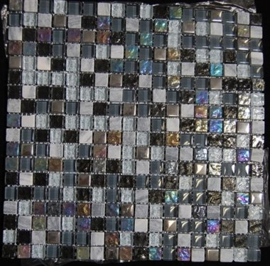 "Fusion Glass Tile Mosaic 1/2"" x 1/2"" - Ebony Blend"
