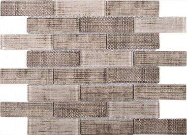 "Glass Tile Fabric Print Matte Polished Mix 10.3"" x 11.7"" - Beige"