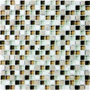 """Bliss Glass Tile Blend Mosaic 5/8"""" x 5/8"""" - Bamboo"""