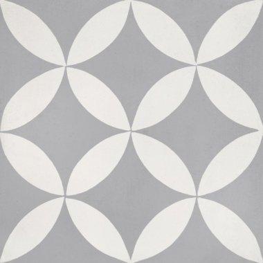 "Bati Orient Cement Tile Decor Modern 8"" x 8"" - Dark Grey/Off White"