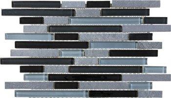 Bliss Glass Tile Blend Linear Mosaic - Black Timber