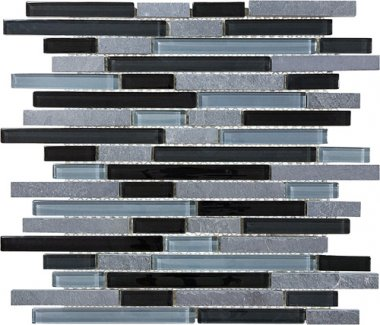 Bliss Glass Tile Blend Linear Mosaic - Black Timber