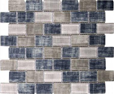 "Glass Tile Fabric Print Brick Matte 10.3"" x 11.7"" - Grey Blue"