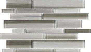 Bliss Fusion Glass Tile Random Strip Mosaic - Clay