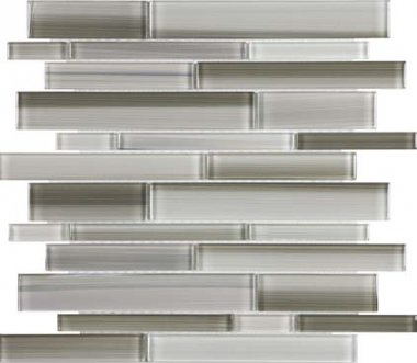 Bliss Fusion Glass Tile Random Strip Mosaic - Clay