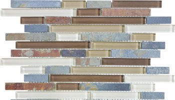 Bliss Glass Tile Blend Linear Mosaic - Amber Tea