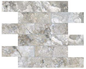"""Ottomano Tile Mosaic 2"""" x 6"""" - Argento"""
