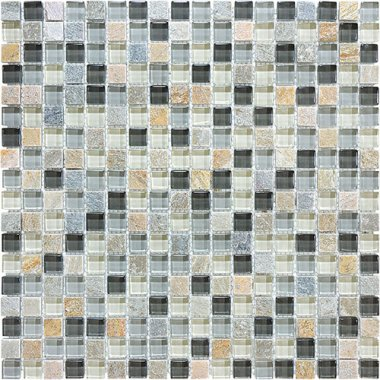 "Bliss Glass Tile Blend Mosaic 5/8"" x 5/8"" - Silver Aspen"