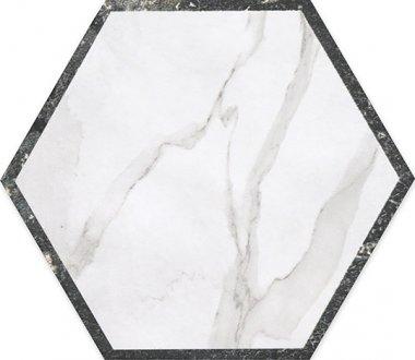 """Roma Series Tile Hexagon Decor 10"""" x 10"""" - Statuario/Grafite"""