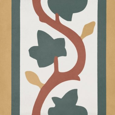 """Bati Orient Cement Tile Decor Classic Leaf 8"""" x 8"""" - Off White/Yellow/Green/Red"""