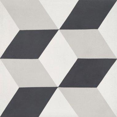 """Bati Orient Cement Tile Decor Modern 8"""" x 8"""" - Off White/Antracite"""