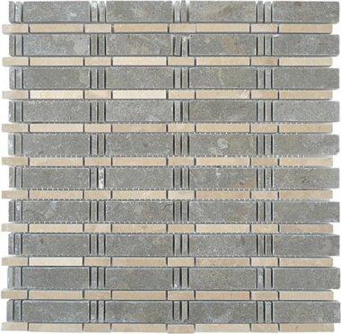 """Skyline Stone Tile 3/4"""" x 2 1/2"""" - Lagos Azul & Lagos Gold (dots)"""