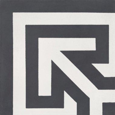 """Bati Orient Cement Tile Decor Classic Geo Corner 8"""" x 8"""" - Antracite/Off White"""