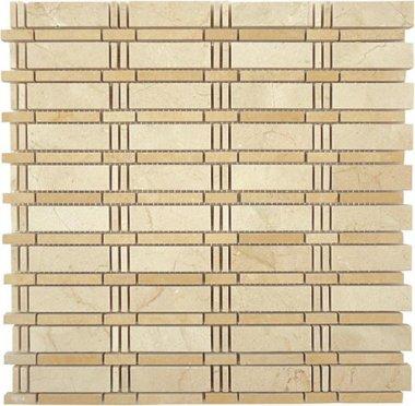 "Skyline Stone Tile 3/4"" x 2 1/2"" - Crema Marfil & Jerusalem Gold (dots)"