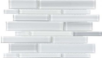Bliss Fusion Glass Tile Random Strip Mosaic - Ice