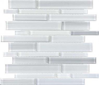 Bliss Fusion Glass Tile Random Strip Mosaic - Ice
