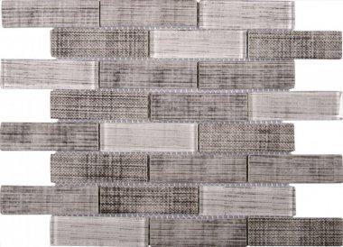 "Glass Tile Fabric Print Matte Polished Mix 10.3"" x 11.7"" - Grey"