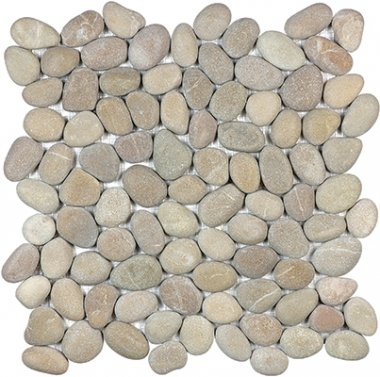 "Spa Pebbles Natural Mosaic 12"" x 12"" - Driftwood Tan"
