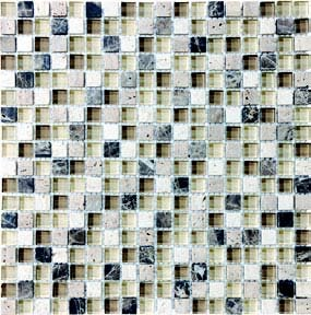 "Bliss Glass Tile Blend Mosaic 5/8"" x 5/8"" - Cappuccino"