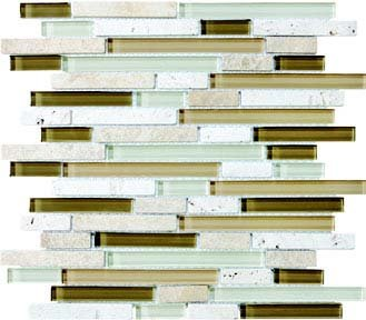 Bliss Glass Tile Blend Linear Mosaic - Bamboo