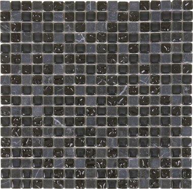 "Glass Tile Glossy Mosaic 1"" x 1"" - Black"