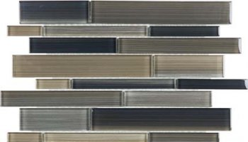 Bliss Fusion Glass Tile Random Strip Mosaic - Rock