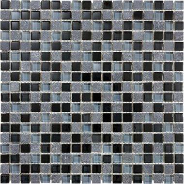"Bliss Glass Tile Blend Mosaic 5/8"" x 5/8"" - Black Timber"