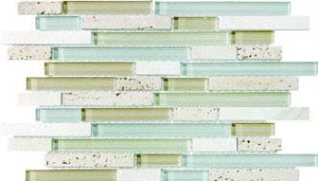 Bliss Glass Tile Blend Linear Mosaic - Spa