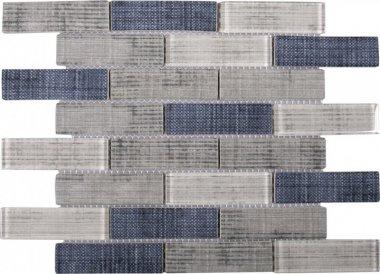 "Glass Tile Fabric Print Matte Polished Mix 10.3"" x 11.7"" - Grey Blue"
