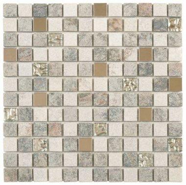 "Quartzite Stone Tile Mosaic 7/8"" x 7/8"" - Grey Beige"