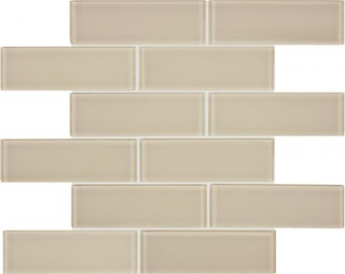 "Bliss Element Glass Tile Brick Mosaic 2"" x 6"" - Earth"