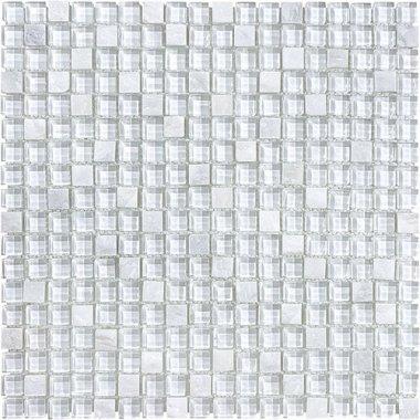 """Bliss Glass Tile Blend Mosaic 5/8"""" x 5/8"""" - Norwegian Ice"""